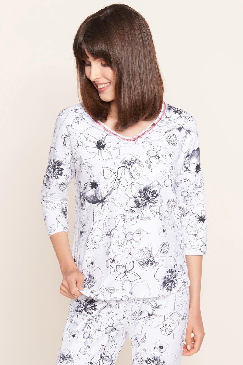 Shirt im gezeichneten Blumendruck Artprint Baumwolle/Elasthan 1212003