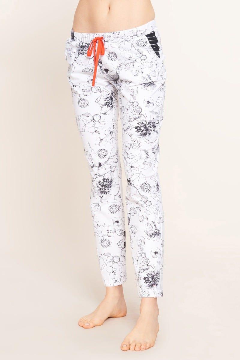 Pyjamahose lang im gezeichneten Blumendruck Artprint Baumwolle/Elasthan 1212005