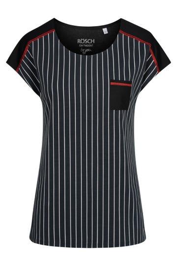 T-Shirt im Streifenprint Brusttasche Baumwolle/Elasthan 1212006