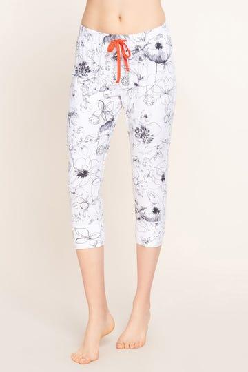 3/4-Pyjamahose im gezeichneten Blumendruck Artprint Baumwolle/Elasthan 1212007