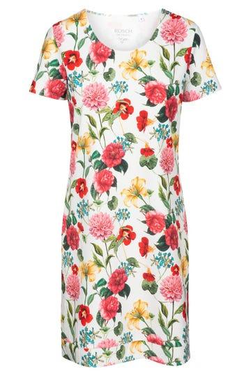 Freizeitkleid im sommerlichen Blumenprint fröhlich Sleepshirt Baumwolle/Elasthan 1212010