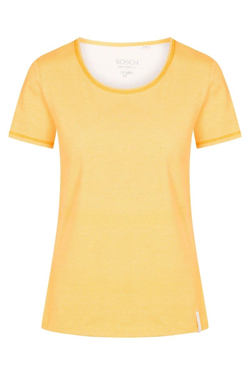 T-Shirt im minimalistischen Punktedruck Gelb Dots sommerlich fröhlich Baumwolle/Elasthan 1212031