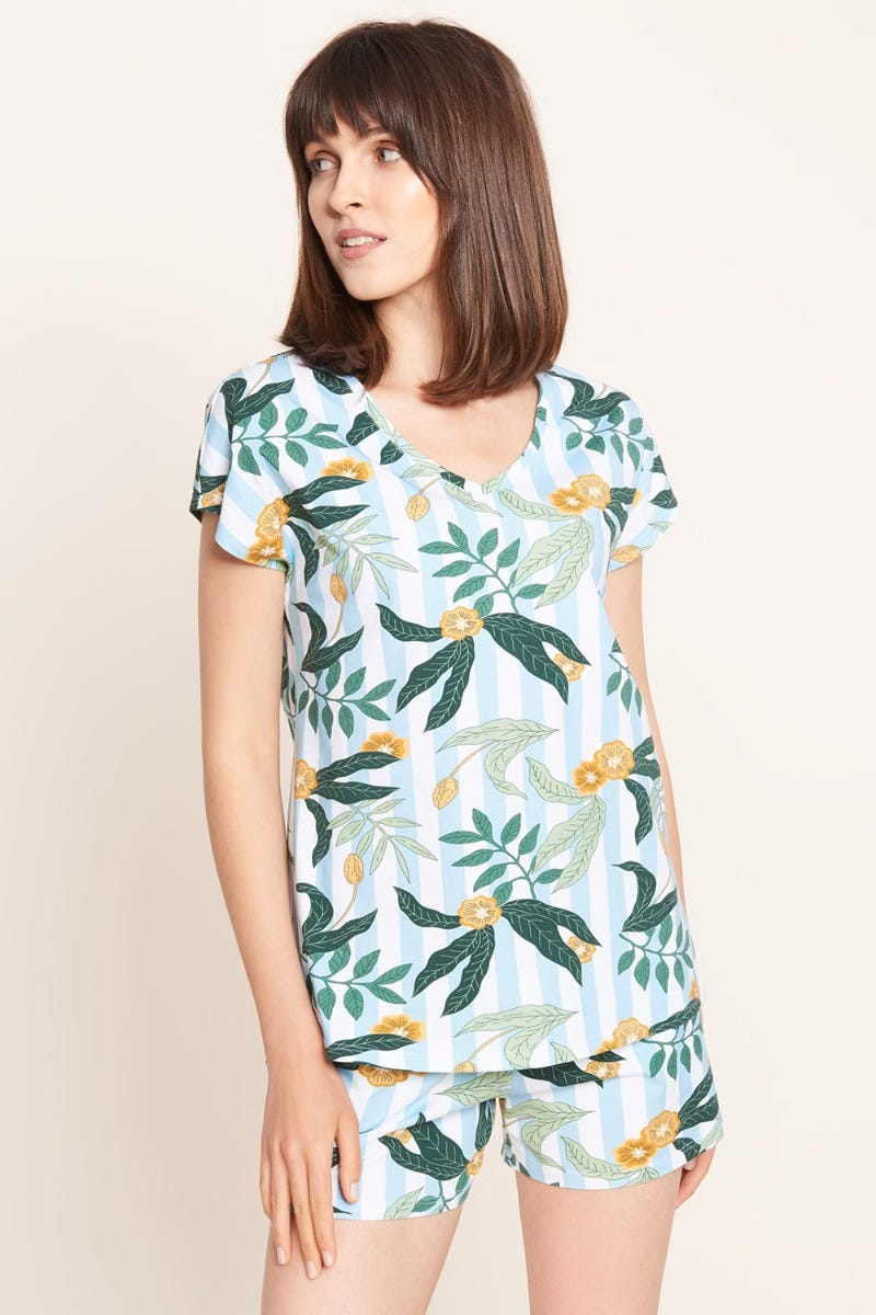 T-Shirt im Mustermix Streifen Blätter Flower sommerlich Baumwolle/Elasthan 1212033