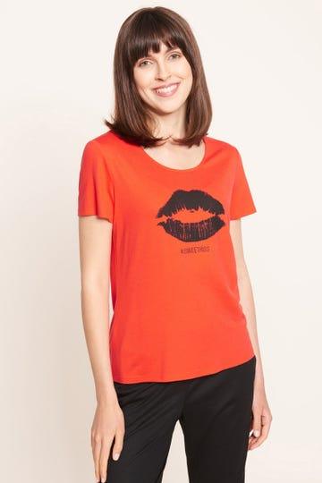 T-Shirt mit Motivdruck Sweet Kiss Viskose/Elasthan 1212040