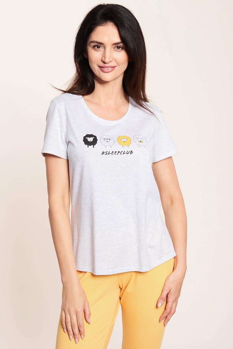 T-Shirt mit Motivdruck Schäfchen Osterkollektion Graumelange Baumwolle/Elasthan 1212051