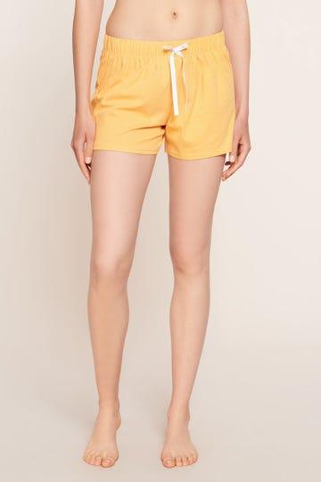 Shorts im minimalistischen Punktedruck Gelb Dots kurze Hose sommerlich fröhlich Baumwolle/Elasthan 1212053