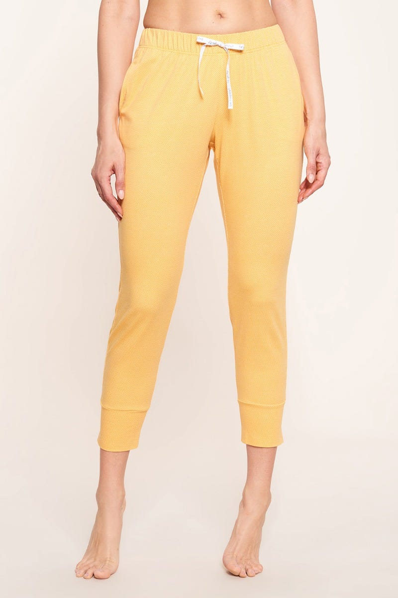 7/8-Hose im minimalistischen Punktedruck Gelb Dots sommerlich fröhlich Baumwolle/Elasthan 1212054