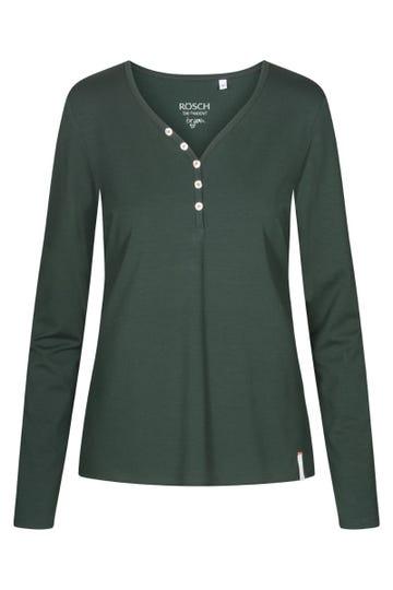 Basic Langarmshirt in Grün Knopfleiste Viskose/Elasthan