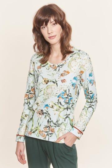 Langarmshirt im verspielten Blütendruck romantisch Pyjamashirt Baumwolle/Elasthan