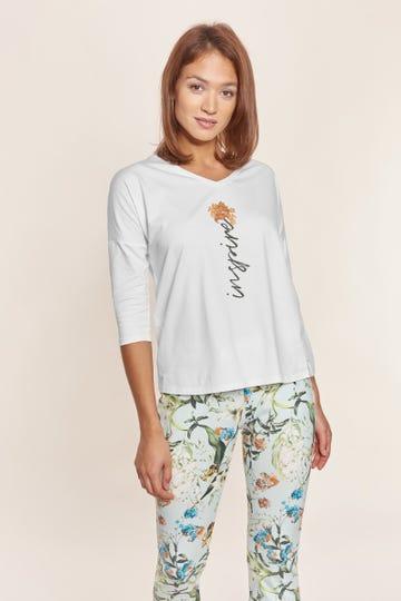 Pyjamashirt mit Frontprint Schriftzug Baumwolle/Elasthan