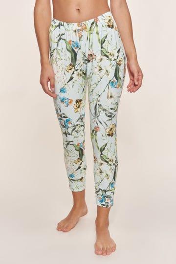 7/8-Pyjamahose im verspielten Blütendruck romantisch Baumwolle/Elasthan