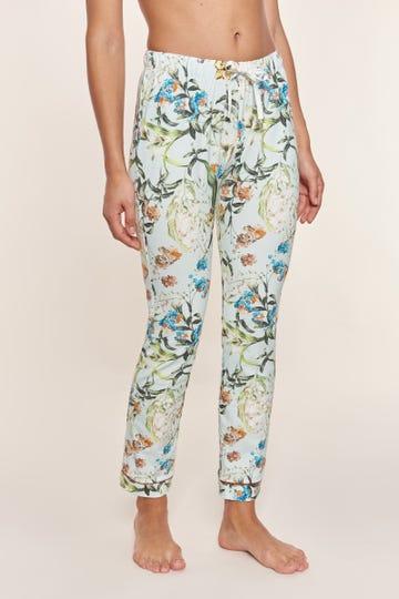 Lange Pyjamahose im verspielten Blütendruck romantisch Baumwolle/Elasthan