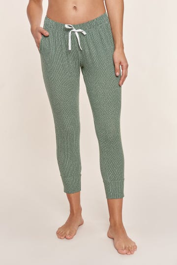 7/8-Pyjamahose im Minimalprint Strickoptik grafisch Baumwolle/Elasthan