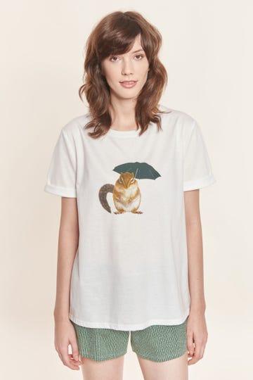 T-Shirt mit Motivprint Streifenhörnchen 100% Baumwolle