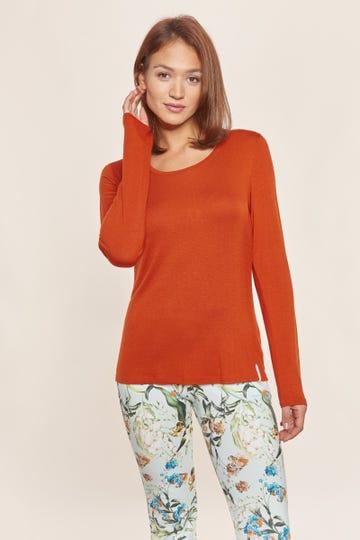 Basic Langarmshirt in Terrakotta Baumwolle/Elasthan