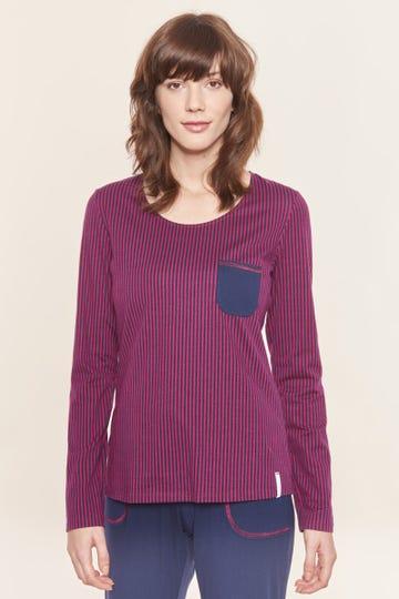 Pyjamashirt im Streifenprint Kirsche Mix & Match Baumwolle/Elasthan