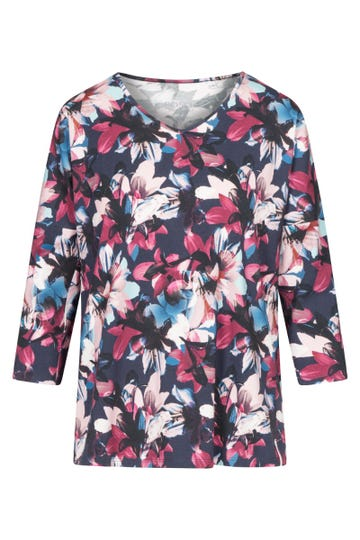 Pyjamashirt im winterlichen Blumendruck verspielt Mix & Match Baumwolle/Elasthan