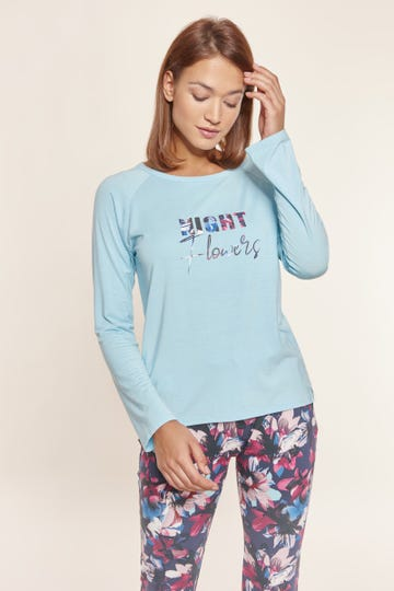 Pyjamashirt langarm mit Frontprint in Eisblau Mix & Match Baumwolle/Elasthan