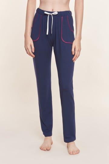 Pyjamahose mit Kontrastnähten Navyblau Mix & Match Baumwolle/Elasthan