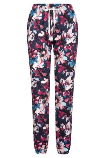 Pyjamahose im winterlichen Blumendruck Loungehose verspielt Mix & Match Baumwolle/Elasthan