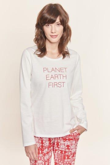 "Langarmshirt mit Statementprint ""Planet Earth"" Mix & Match Baumwolle/Elasthan"