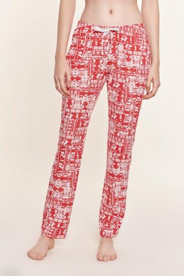 Pyjamahose lang im Norweger-Print winterlich Mix & Match Baumwolle/Elasthan