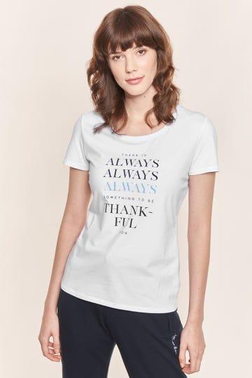 """Basic T-Shirt mit Statement-Print """"Always Thankful"""" Unifarben Baumwolle/Elasthan Rösch thx"""