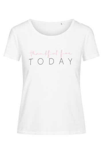 """Basic T-Shirt mit Statement-Print """"Thankful"""" Baumwolle/Elasthan Rösch thx"""