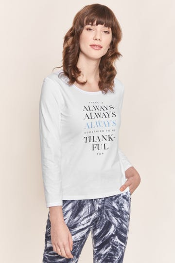 "Basic Langarmshirt mit Statement-Print ""Thankful"" Unifarben Baumwolle/Elasthan Rösch thx"