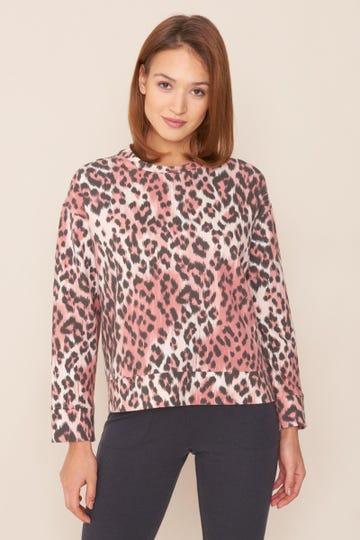 Sweatshirt im Leoprint Animaldruck Loungeshirt Baumwolle/Elasthan Rösch thx