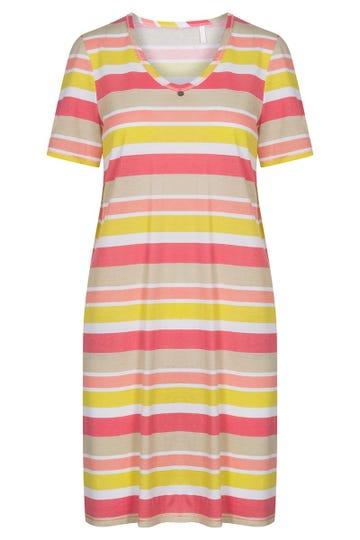 Nachthemd im Ringelprint Retro-Style geringelt 100% Baumwolle 1213026