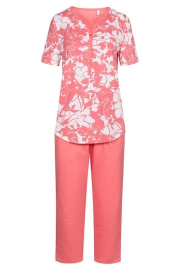 Pyjama mit sommerlichen Blumenprint Knopfleiste 100% Baumwolle 1213030