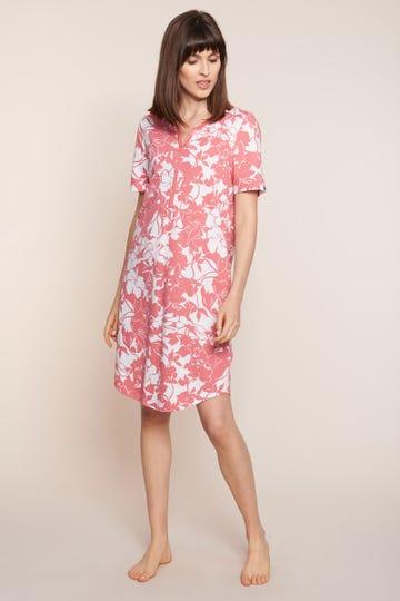 Bigshirt im sommerlichen Blumenprint Knopfleiste 100% Baumwolle 1213031