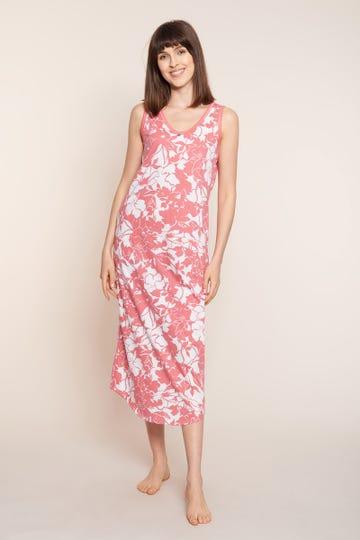 Nachtkleid ärmellos im sommerlichen Blumenprint Maxilänge 100% Baumwolle 1213032