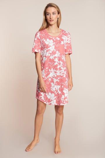 Sleepshirt kurzarm im sommerlichen Blumenprint Brusttasche 100% Baumwolle 1213033