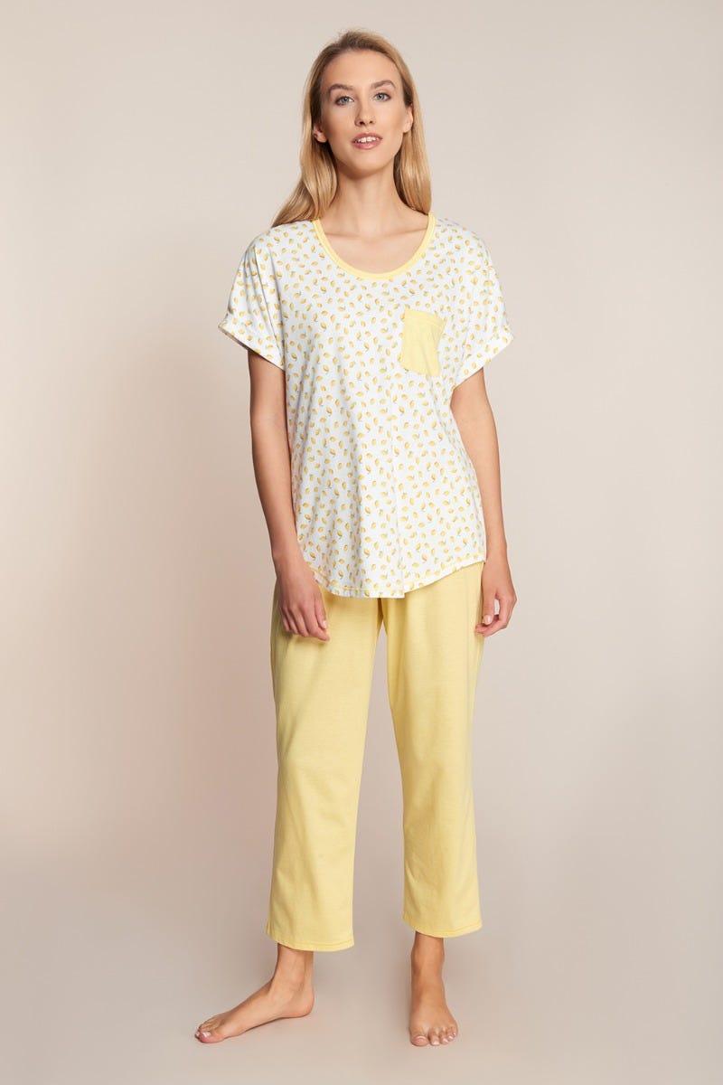 Pyjama mit sommerlichen Limonendruck Minimalprint 100% Baumwolle 1213036