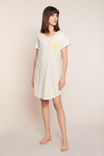 Bigshirt im sommerlichen Limonendruck Minimalprint 100% Baumwolle 1213037