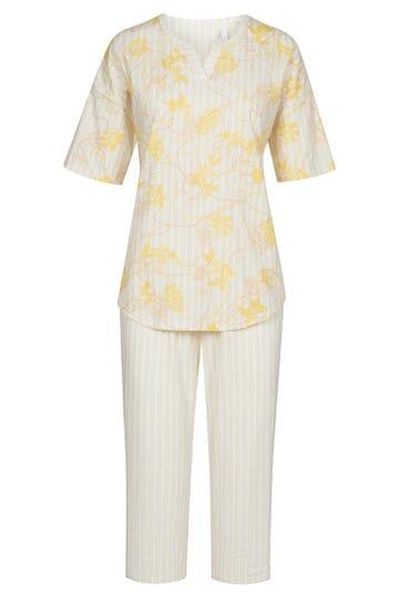 Pyjama im sommerlichen Streifenprint Nadelstreifen Blumendruck 100% Baumwolle 1213040