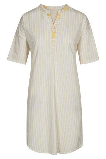 Bigshirt im sommerlichen Streifenprint Nadelstreifen Knopfleiste 100% Baumwolle 1213041