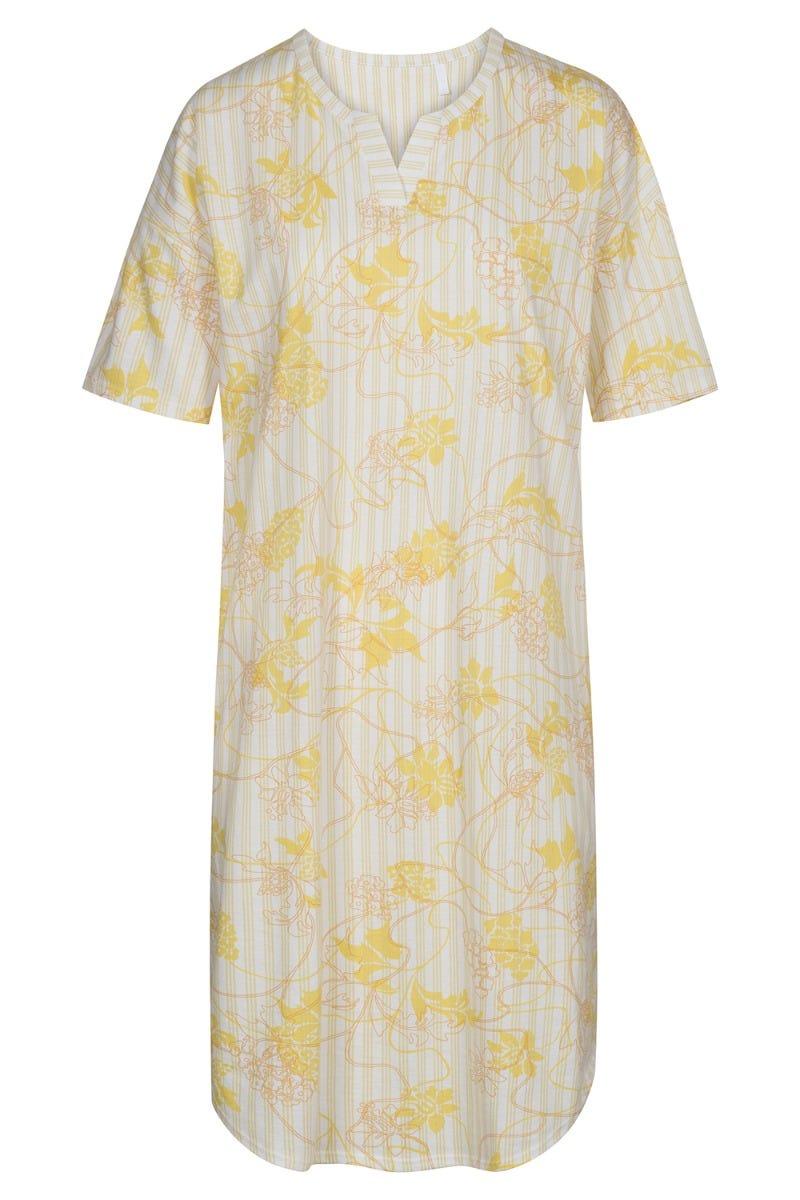 Nachthemd im sommerlichen Mustermix Nadelstreifen Blumendruck 100% Baumwolle 1213042