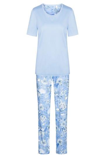 Pyjama mit Blumenprint Ornament-Stil Himmelblau romantisch 100% Baumwolle 1213045