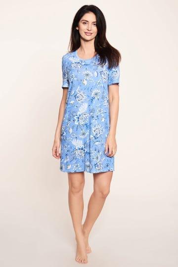 Bigshirt im Blumenprint Ornament-Stil Himmelblau romantisch 100% Baumwolle 1213046