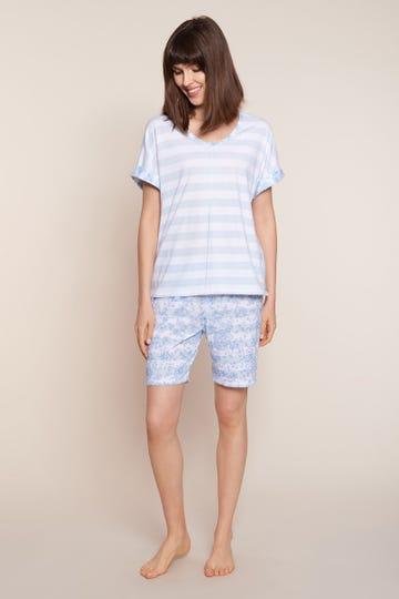 Pyjama kurz im sommerlichen Ringelprint geblümt Streifen 100% Baumwolle 1213049