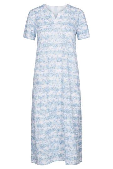 Nachtkleid im sommerlichen Ringelprint geblümt Streifen Maxilänge 100% Baumwolle 1213051