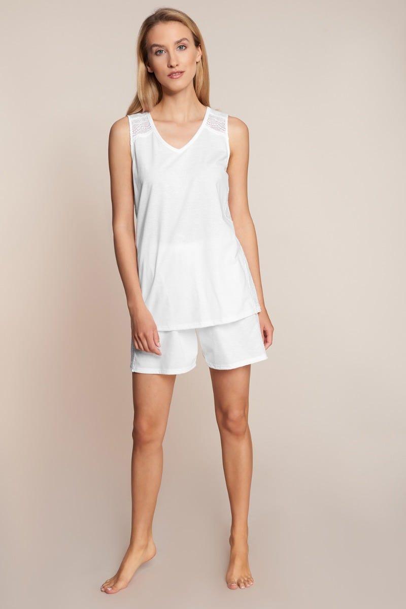Shorty mit Spitzendetails Sommer All White Pyjama kurz sportiv Baumwolle 1213071