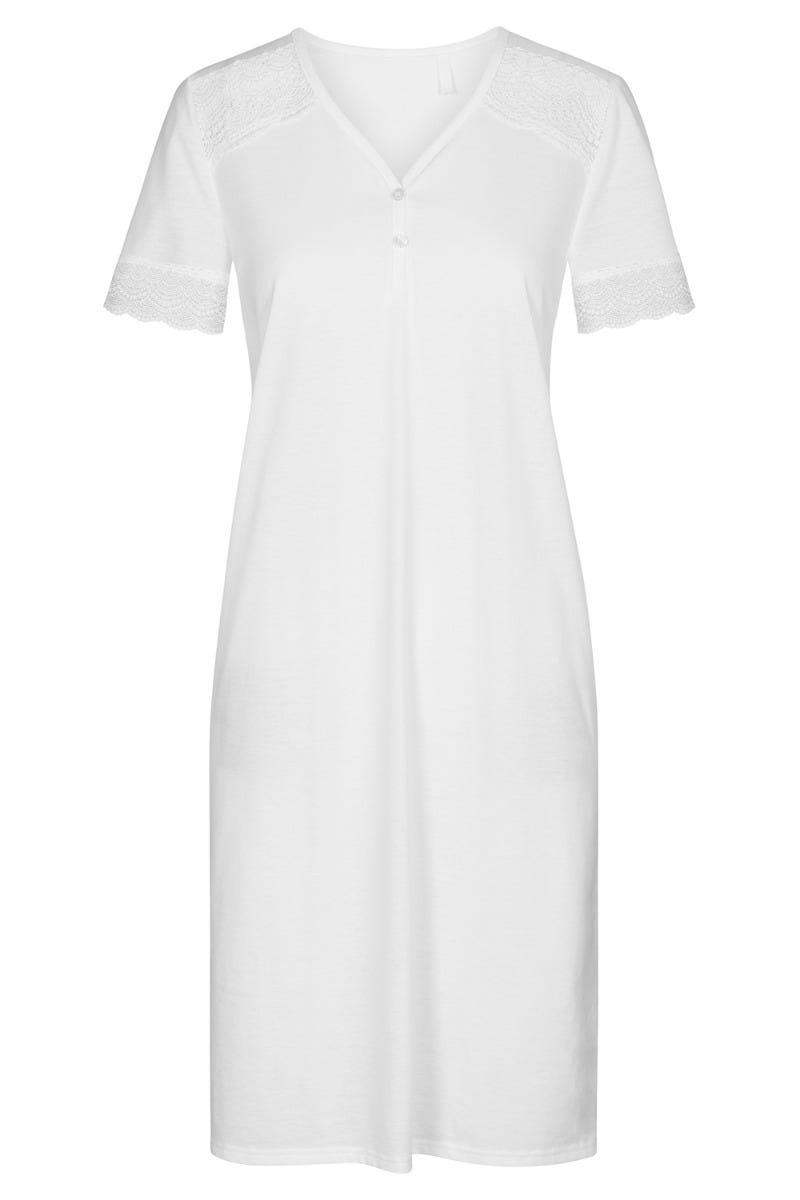 Nachthemd mit Spitzendetails Sommer All White romantisch Baumwolle 1213073