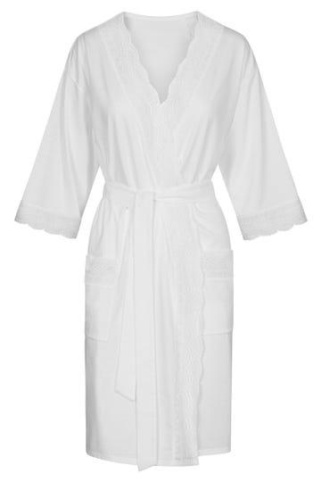 Morgenmantel mit Spitzendetails Sommer All White Pyjama Hochzeit Braut Baumwolle 1213074