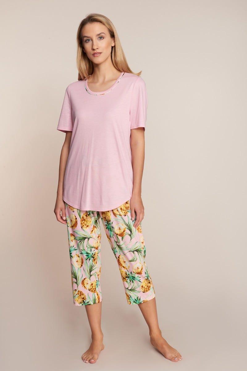 Pyjama kurz mit Ananasprint sommerlich exotisch fruchtig Baumwolle/Modal 1213076