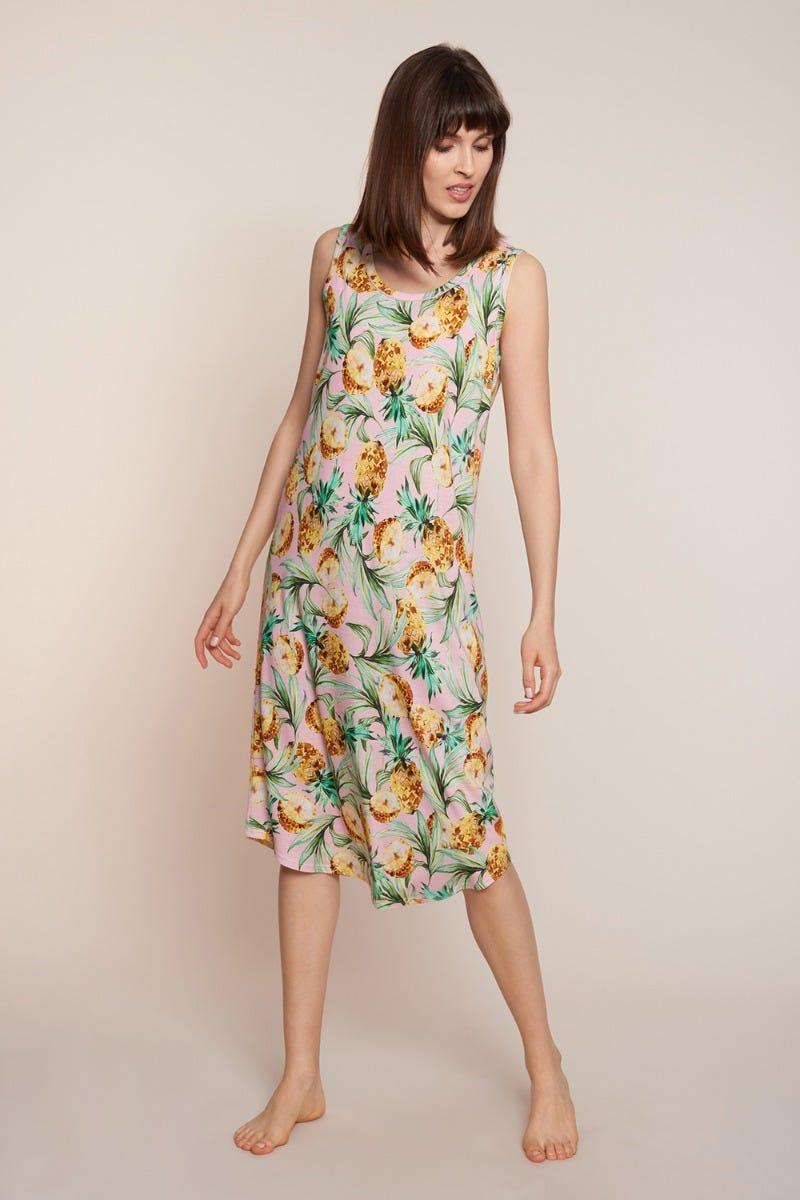 Freizeitkleid im Ananasprint sommerlich exotisch fruchtig Baumwolle/Modal 1213078