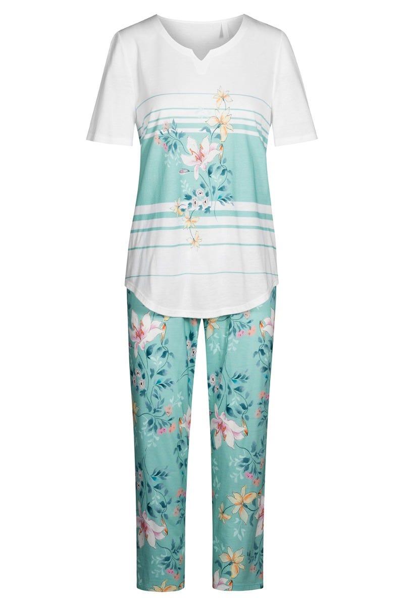 Pyjama mit Blumendessin Ringel geblümt sommerlich Baumwolle/Modal 1213080